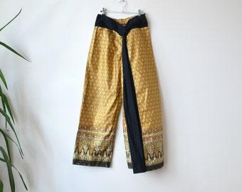 Vintage Fisherman Pants // Yoga Harem Womens Boho Pants Tai Chi Pants Size Large