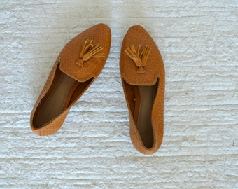Vintage Huarache Woven Tan Leather Tassel Shoes  Women Size US 6 1/2 EU 37