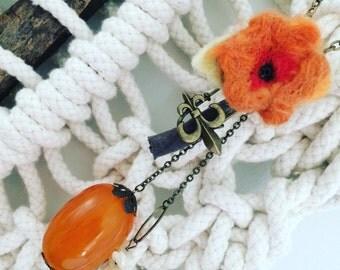 Boho Necklace with  orange felt flower