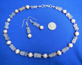 Rutilated Quartz, Cultured Pearl, & Amethyst Necklace Earring Set