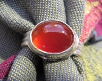 Red Carnelian in Argentium Ring Size 8 & 3 Quarters