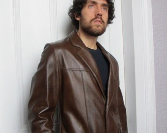 60's Vintage Men's Fine Leather Jacket made in the U.S.A. medium/ long