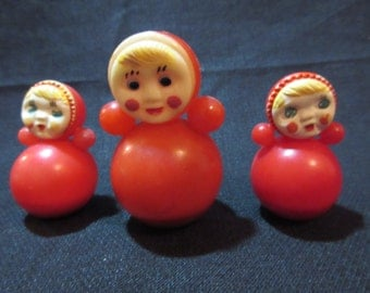 3 Vintage Russian Plastic Roly Poly Dolls, 1970s, USSR, Soviet
