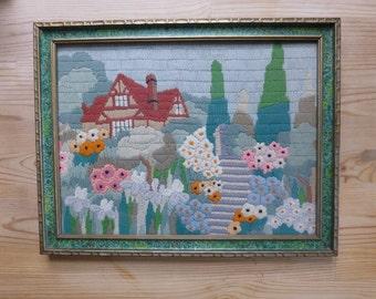 Vintage Embroidery Cottage and Gardens Crewel Framed