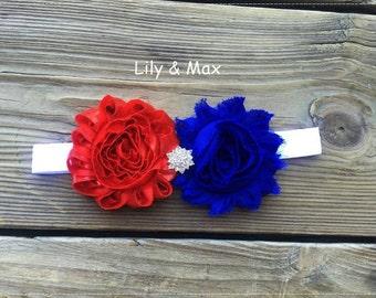 4th of July  shabby rosette elastic headband, red and royalblue headband, 4th of July  headband, custom color rosette posh headband
