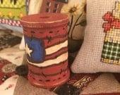 Hand painted original design wood spool with Americana flag - OFG - FAAP