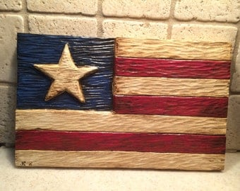 Hand Carved - Hand Painted - wood - Americana - flag - wall hanging - FAAP - CTSOFG