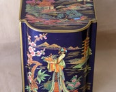 Vintage Decorative TIN ~ Asian Ladies Women & Scenes ~ Made In England ~ Tea Bag Teabag Canister Container