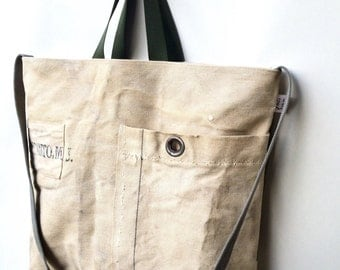 DISANTO -reconstructed vintage navy duffle, tote bag