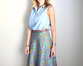 Vintage 80s 90s Silk Wrap Floral Yellow Blue Pink Midlength Skirt // womens small