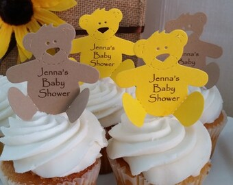 Cupcake Toppers Baby Shower Teddy Bear Theme or Teddy Bear Birthday Party Cupcakes - Package of 6 Choice of Colors