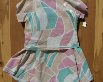 NOS Two Piece Pink And Teal