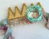1st Birthday gold crown Birthday hat Princess crown Cake smash photography prop Glitter crown sparkle crown flower crown vintage crown