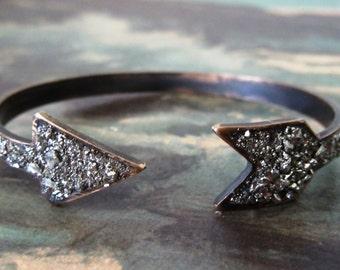 Pyrite Arrow Cuff Bracelet - Raw Stone - Arrowhead Bracelet-Stacking Bracelet