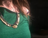 Tribal collar/ red and gold necklace/ gypsy jewelry