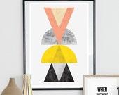 Abstract watercolor art, geometric print,  triangles art, mid century modern, minimalist  poster, scandinavian art, marble print, modern art