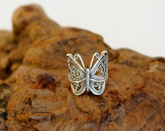 Vintage Sterling Silver 925 Filigree Butterfly Wrap Ring.. Size 8 (#5)