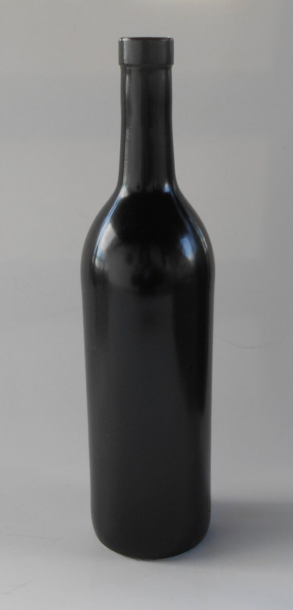 Black wine bottle black ceramic base paint party vase or for Ceramic based paint