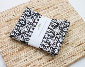 Large Cloth Napkins - Set of 4 - (N2900) - Black Medallion Modern Reusable Fabric Napkins