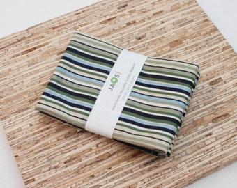 Large Cloth Napkins - Set of 4 - (N2535) - Blue Green Stripe Modern Reusable Fabric Napkins