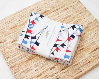 Large Cloth Napkins - Set of 4 - (N3696) - Blue Americana Bunting Modern Reusable Fabric Napkins