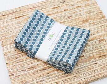Large Cloth Napkins - Set of 4 - (N3979) - Gray Honeycomb Geometric Modern Reusable Fabric Napkins