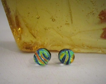 Yellow Blue and Orange Waves Round Stud Earrings
