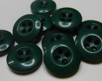 11 Grasshopper Green Wide Rim Small Round Buttons Size 9/16""