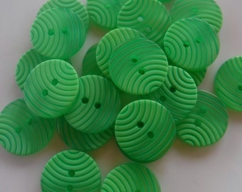 """12 Lime Green Curved Stripe Medium Round Buttons Size 11/16"""""""