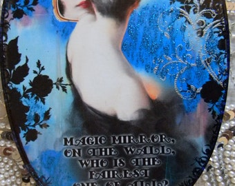 Magic Mirror On The Wall, Who's the Fairest of Them All Decoupage Plastic Hand Mirror