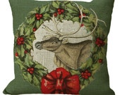 Burlap Christmas Wreath Reindeer in Choice of 14x14 16x16 18x18 20x20 22x22 24x24 26x26 inch Pillow Cover