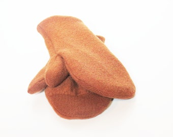 Women's recycled wool sweater mittens rust brown