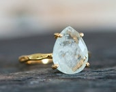 SALE - Solitaire Aquamarine Ring Gold- March Birthstone Ring - Stone Ring - Stacking Ring - Gold Ring - Tear Drop Ring - Prong Set Ring