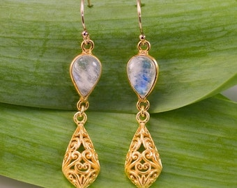 40 OFF - Rainbow Moonstone Earrings - Gold Filigree Earrings- Bezel Earrings