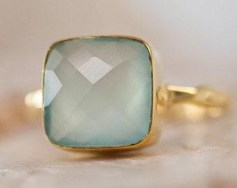SALE - Aqua Blue Chalcedony Ring - Gemstone Ring - Stacking Ring - Gold Ring- Cushion Cut Ring