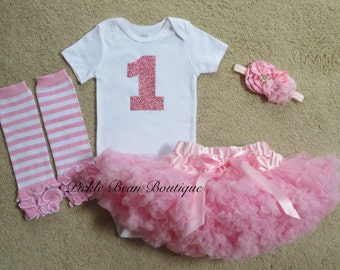 1st Birthday Girl Outfit, Girls First Birthday Outfits, Baby Girl 1st Birthday Outfit, Pink Sparkle Shirt, Pink Pettiskirt, Glitter Birthday
