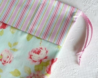Shabby Chic Lingerie Bag. Laundry Bag Pastel Roses and Fresh Stripes. Floral Cotton Bag