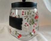 Glass Canister with chalkboard and Red Cherry theme