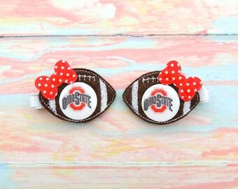 Football pig tails - Football clips -  Football bow - Ohio hair bow - Football hair bow - Football hair clips - Ohio football bows