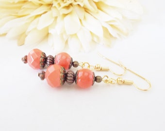 Coral Pink Earrings, Bohemian Boho Bridesmaids Clip On Earrings Wedding Bridal Party Jewelry, Czech Glass Drop Earrings, Sister Gift for Her