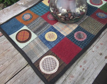Wool patchwork penny rug, wool table topper