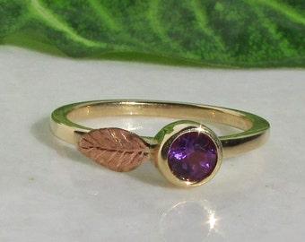 Amethyst Ring, 14k Gold Amethyst Stacking Ring, 14k Gold Amethyst Birthstone Ring, 2mm Solid Gold Band, Handcrafted 14k Rose Gold Leaf