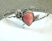 Rhodonite Silver Bracelet-Rhodonite Bangle Bracelet-Sterling Silver Bangle Bracelet-Ivy Bangle Bracelet-Vine Bracelet-Stacking Silver Bangle