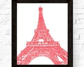 Eiffel Tower in Red - Paris Sketch 8x10 Abstract Drawing, Red or Black, Paris Print, France, Design, wall art