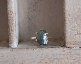 Raw Rough blue Diamond - Solitaire- promise-one of a kind engagement ring