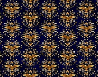 For Love of Country Eagle Emblem Blue Premium cotton fabric by Dan Morris for Quilting Treasures  Patriotic/United States/American Flag