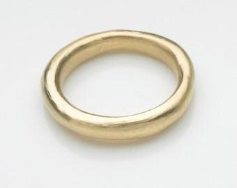 Chunky gold wedding band - heavy gold wedding ring - unisex gold wedding ring halo profile - organic shape rustic gold ring - Free Shipping