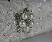 Lacey and twinkly wedding clutch bag .. vintage lace with Swarovski crystals and  pearls ... FREE shipping within the US
