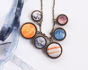 Solar System Necklace, Planets Necklace, Space Jewelry, Galaxy Necklace, Statement Necklace, Gift For Her, Free Shipping