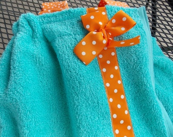Women's  and kids personalized towel wrap For beach and Bath Graduation gift straps cell phone pocket